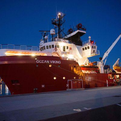 Räddningsfartyget Ocean Viking ligger förankrat i Marseilles den 4 augusti 2019.