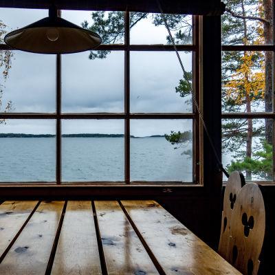 Utsikt över havet från ett sommarstugefönster.