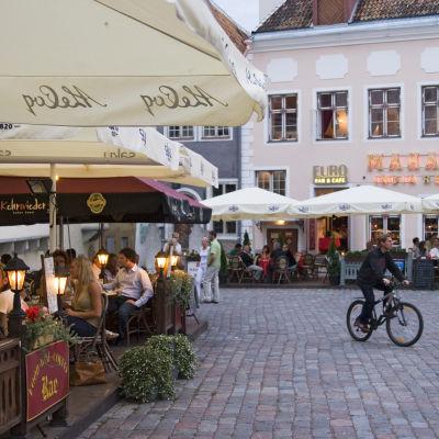 Ihmisiä terassilla syömässä Tallinnassa.