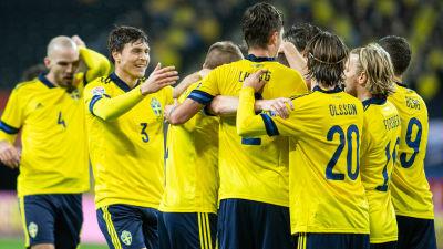 Sverige firar mål i Nations League 2020.