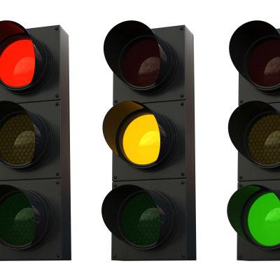 Trafikljus som visar rött, gult och grönt.