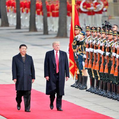 Presidentin Xi ja Trump kävelevät vakavina mustissa puvuissa ja päällystakeissa punaisella matolla kunniakaartin ohi. Xin takki on napitettu, Trumpin päällystakki on auki ja kirkkaanpunainen kravatti näkyy koko pituudeltaan.