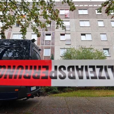 Det höghus i Leipzig där de tre syrierna övermannade sin terrormisstänkte landsman