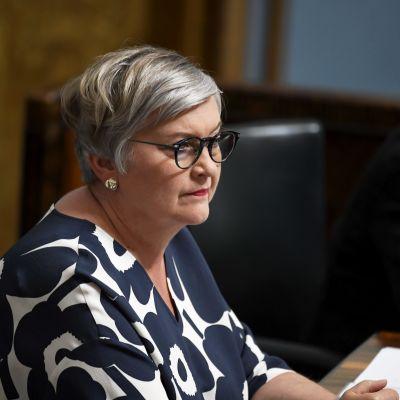 Anu Vehviläinen - En kvinna med kortklippt grått hår och svarta runda glasögon. Hon sitter i riksdagens plenisal iförd en blå marimekkoklänning.