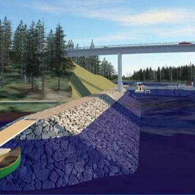 Kutilan sillan havainnekuva. Sillan korkeus olisi 18,5 metriä.