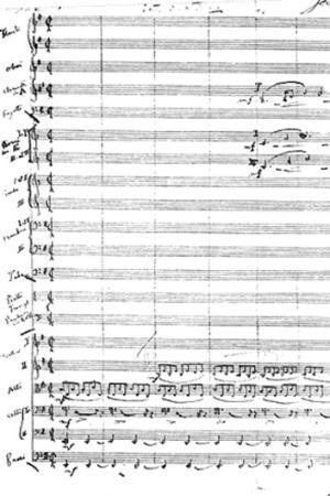 Kullervo-sinfonian partituurin ensimmäinen sivu.