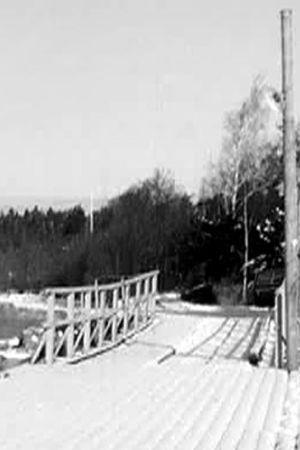 En svartvit bild på en brygga och en stuga