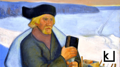 Maalaus, joka esittää Matti Pohtoa kelkkoineen ja kirjoineen lumisessa maisemassa.