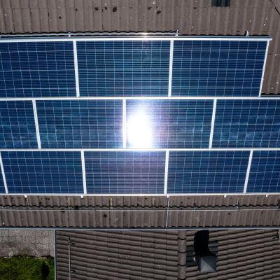 Solpaneler på ett tak i Rasborg. Fotograferat rakt uppifrån med en drönare.