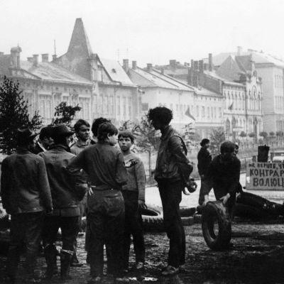Prag i augusti 1968 då Sovjetledda trupper ockuperade landet.