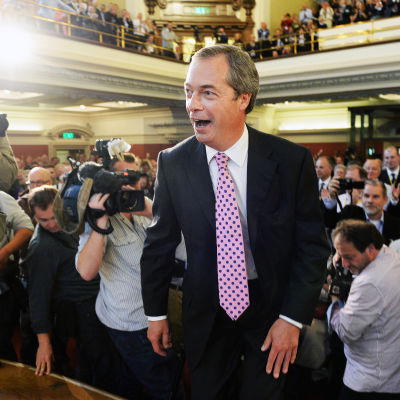 UKIP:s (United Kingdom Independence Party) ordförande Nigel Farage vid partiets möte i september 2013.