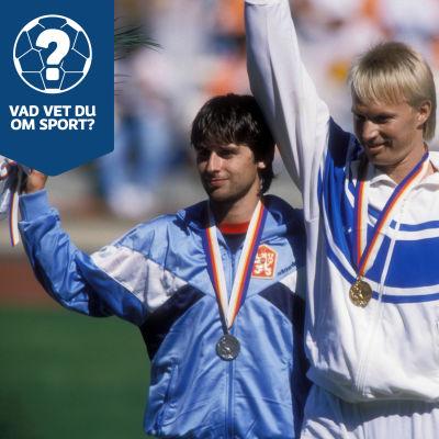 Jan Zelezny, Tapio Korjus och Seppo Räty på prispallen i OS i Seoul 1988.
