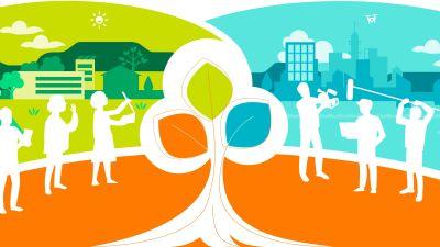 En tecknad bild. Olika profiler i vitt. I mitten ett träd, i bakgrunden natur och en stad.