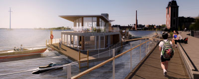 Visualisering av en flytande restaurang i havet.