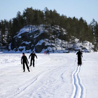 Retkiluistelijoita ja hiihtäjiä Järvisydämen ulkoliikuntareitillä Rantasalmella.