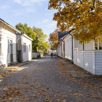 En gata i en äldre stadsdel med gamla hus.