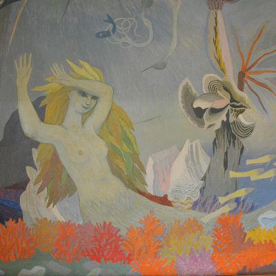 En sjöjungfru ur Tove Janssons väggmålning.