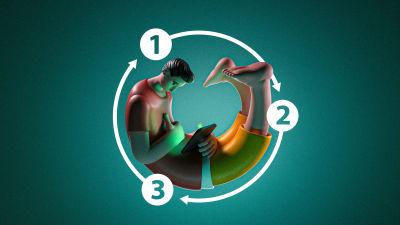 Graafisessa kuvituksessa yksinäinen mies pelaa mobiililaitteen kanssa käpertyneenä itseensä. Kuvituksen tehnyt Mikko Lehtola.