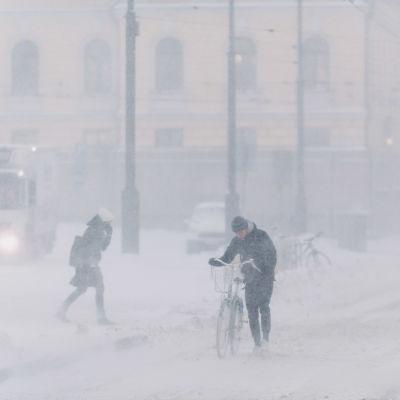 Pyöräilijä taluttaa pyörää lumimyräkässä Senaatintorin vieressä Helsingissä.