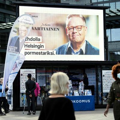 samlingspartiets valkampanj i Helsingfors inför kommunalvalet.