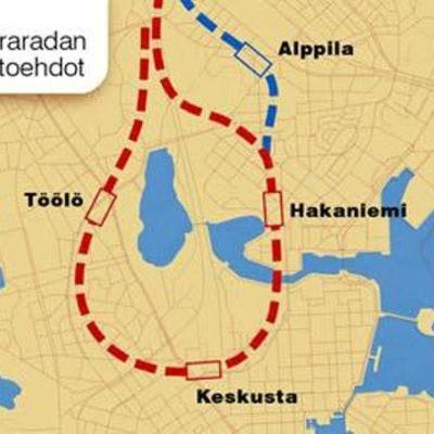 Centrumslingan inritad på en karta över Helsingfors
