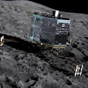 Datorbild på hur Rosetta utför sitt uppdrag på kometens yta.