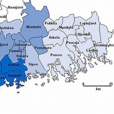 De 14 Kuuma-kommunerna ligger runt huvudstadsregionen