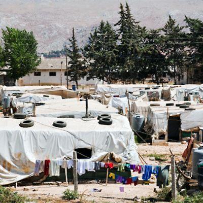 Syriskt flyktingläger i Dalhamiyeh i Libanon