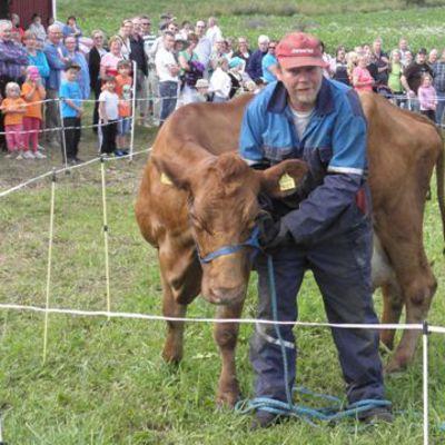Ari Vuori toi paikalle lehmäloton arvontakoneet.