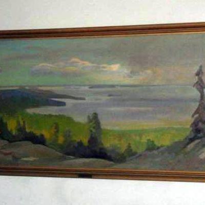 """Eero Nelimarkan maalaus """"Maisema Kolilta""""."""