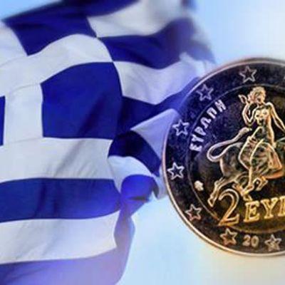Bildmontage med Grekisk flagga och euromynt