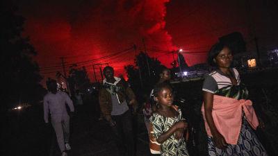 Kongoleser med packning flyr undan vulkanen Nyiragongos utbrott. Himlen bakom dem är färgad röd av utbrottet.