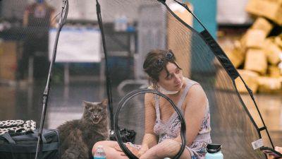 En kvinna med sin katt i ett nedkylningscenter i Portland, Oregon.
