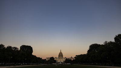 USA:s kongress i kvällsljus. Washington DC.