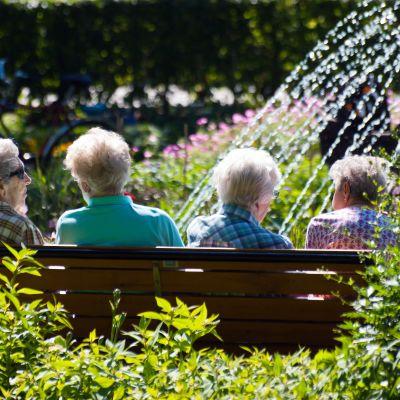 Äldre människor sitter på en bänk