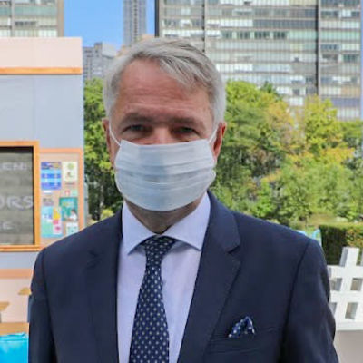 Utrikesminister Pekka Haavisto i New York under FN-veckan 2021.