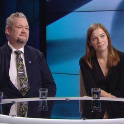 Vaemmistoliiton kansanedustajat Aino-Kaisa Pekonen, Jari Myllykoski ja Li Andersson A-studion vieraina 3. helmikuuta.