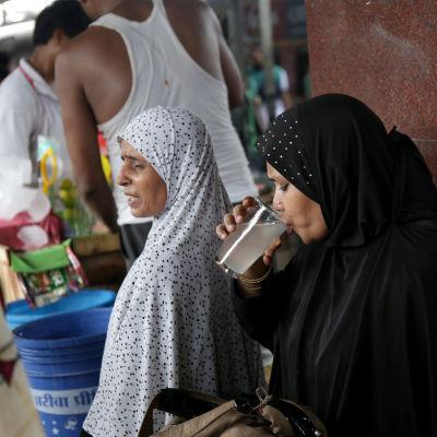 I Indien uppges minst 500 mänskor ha dött till följd av den intensiva värmeböljan som de senaste dagarna har svept över landet. Indiska tågresenärer dricker limevatten i hettan i Kolkata där temperaturen nått 40 grader.