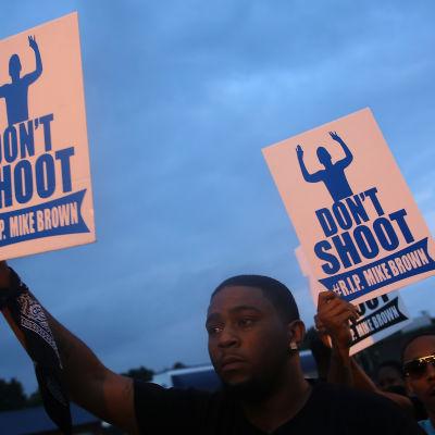 Demonstranter protesterar mot dödsskjutningen av Michael Brown i Ferguson