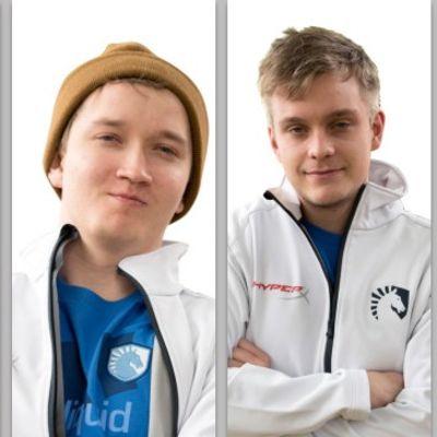 """Team Liquid Dota 2 -joukkue. Keskellä suomalainen Lasse """"MATUMBAMAN"""" Urpalainen, oikealla puolellaan Jesse """"JerAx"""" Vainikka."""