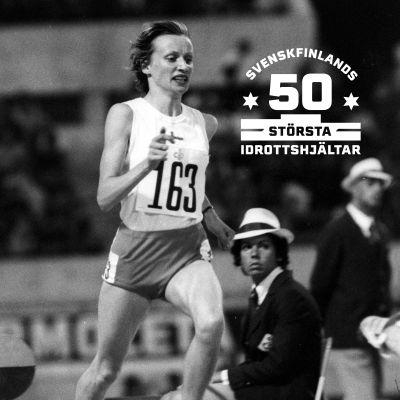 Nina Holmén löper i finalen på 3000 meter i EM 1974.