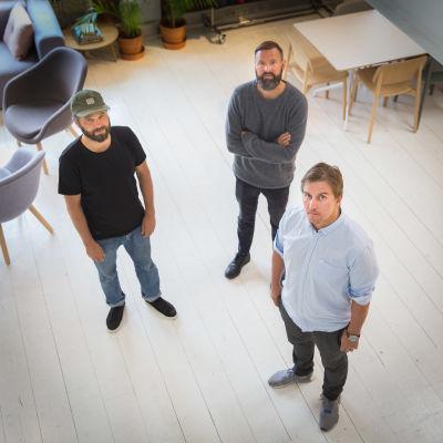 Makian johtotiimi Jesse Hyväri, Totti Nyberg ja Joni Malmi.