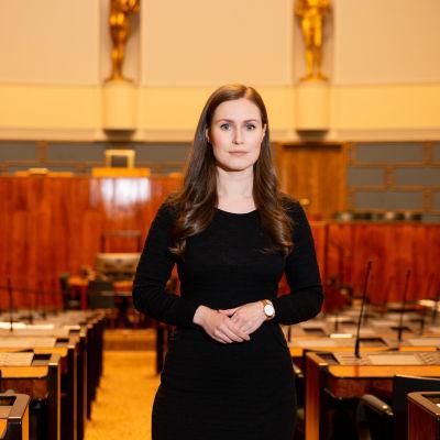 Pääministeri Sanna Marin eduskunnassa.