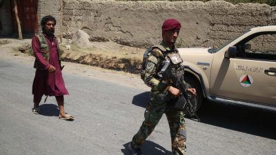 En afghans soldat på patrull i Alishang.