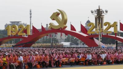 Ungefär 70 000 människor hade samlats på Himmelska fridens torg för att delta i firandet.