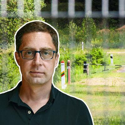 Grafik. I bakgrunden syns gränsen mellan Belarus och Litauen. I förgrunden syns inklippt grafik med en bild på Antti Kuronen.
