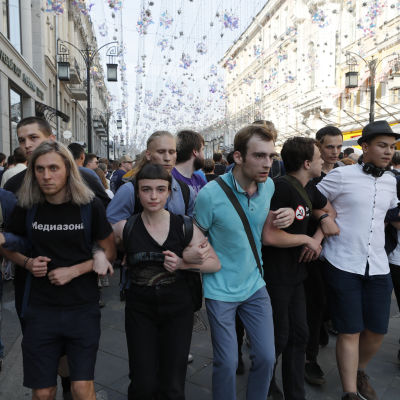Demonstranter i Moskva 27.7.2019