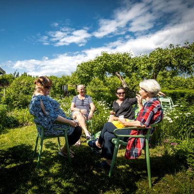 Fyra kvinnor sitter i en trädgård en solig sommardag.