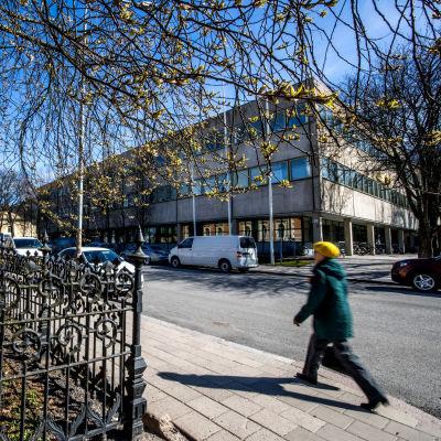 En kvinna i gul basker går på trottoaren vid Biskopsgatan i Åbo.