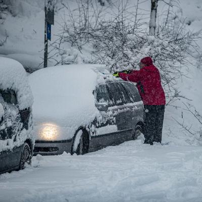 En person putsar sin bil som är täckt med snö.